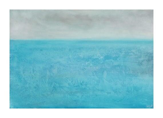 Tableau paysage marin bleu turquoise gris peinture mer ciel - Tableau bleu turquoise ...