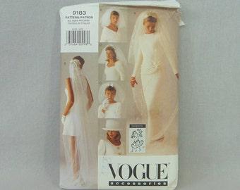 1995 Pattern - Bridal Veils & Hat - Lola Wedding Dress Accessories - UNCUT Vogue 9183 - All Sizes - 1990s Sewing Pattern