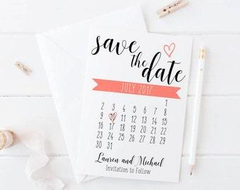 Calendar Save The Date Invitation Print, Custom Heart Calendar Printable Wedding Invite, Printable Digital Invitation, 5x7