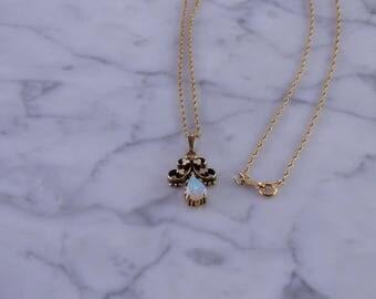 """Antique Opal Pendant Necklace 14K (18"""")"""
