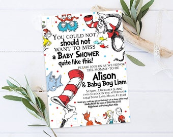Dr. Seuss Baby Shower Invitation, Cat In The Hat Baby Shower Invitation  Printable,
