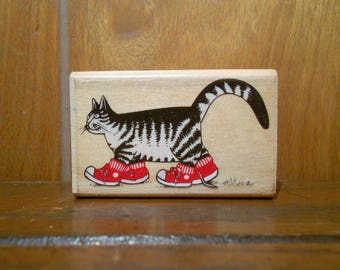 Vintage 1990 Kliban Cat With Sneakers Runner Stamp