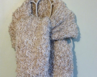 Handmade knit straight chunky scarf of interwoven white and taupe.  Free domestic USPS priority shipping!!