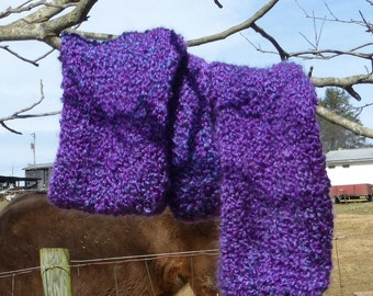 Handmade knit straight chunky scarf in purple mixed with lavender and blue.  Warm and Soft! Free domestic USPS shipping!!