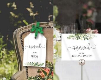 Printable Wedding Reserved Tag, Greenery Wedding Seat Reserved Sign, Greenery Reserved Wedding Seat Template, Reserved Seat Template 2 PDF