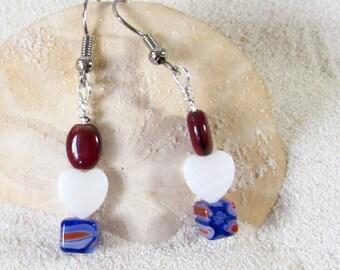 Red, White Shell Heart & Blue Cube Earrings - Patriotic Dangle Earrings - Veteran's Day Jewelry - Red,White, Blue Patriotic Themed Jewelry