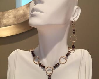 Garnet and Gold Filled Necklace