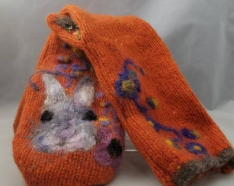 Recycled Sweater Mittens - Handmade Wool Mittens - Needle Felted Springtime Mittens - One of a Kind Mittens with Bunny and Flowers