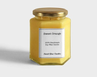 Sweet orange candle, sweet orange scented, orange candle, soy wax candle, jar candle, orange, sweet orange, handmade, gift, vegan, 9.5oz