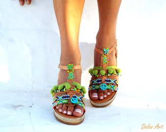 "Artemida"" Friendships  Boho Sandals, Leather sandals, Pom pom summer shoes,  Handmade Sandals, Greek Sandals, Bohemian sandals"