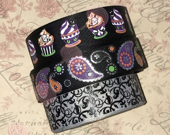 "Spooky Monster Cupcakes and Paisleys   USDR 7/8"" ribbon   Coordinated grosgrain set for bows and crafts"