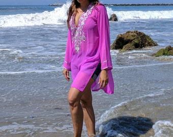 Fuchsia Tunic, Resort, beach coverups, swimsuit coverup, Beach Cover ups ,honeymoon, Tunic, Vacation wear, Beach cover-ups, Beach Tunic,top