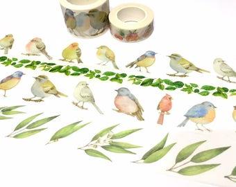 big birds washi tape 8M x 3cm blue bird budgie lovebird canary amazon parrots winter bird wide tape bird drawing fat bird wild bird sticker