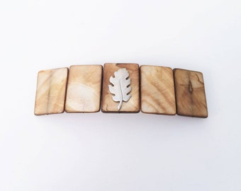 Mother of Pearl Hair Barrette Natural Shell,  Extra Large, Organic look