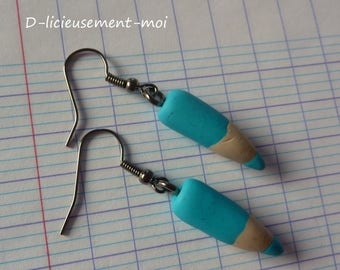 Blue pencil pen school polymer clay earrings in Platinum metal back to school