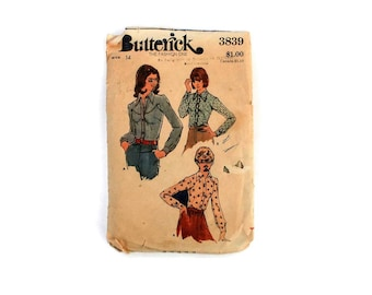 1970s Vintage Sewing Pattern - Butterick 3839 - Button Up Shirt Western