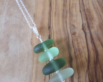 Green Stacked Sterling Silver Sea Glass Necklace, Seaglass Necklace Pendant, Beach Glass, Beach Jewelry, Seaham, Beach Glass, Stack