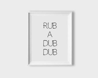 Kids Bathroom Printable Art Rub A Dub Dub Print Bathroom Art Printable Black And