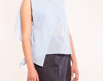 Light cotton blouse In light blue VonHirschhausen, organic Baumwolltop, sustainable fashion, transparent shirt, high quality blouse, fair