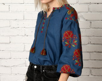 Vyshyvanka blue linen embroidered blouse, Ukrainian vyshyvanka blouse, Bohemian vyshyvanka, Mexican embroidery. Free shipping