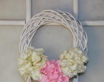 Big wedding wreath Hydrangea Wreath Bridal wreath Front door wreath Flower wreath Wedding Door Decor Wedding gift bridal shower door wreath