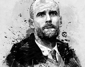 Pep Guardiola A4 Digital Illustration Print