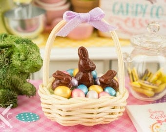Easter Basket with Metallic Easter Eggs and Chocolate Bunnies - 1:12 Dollhouse Miniature