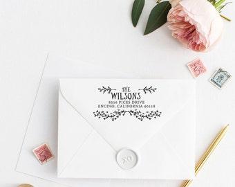 Custom Return Address Stamp, Self Ink Return Address Stamp, Laurel Whimsical Stamp, Calligraphy Address Stamp Return Address Stamp No 102