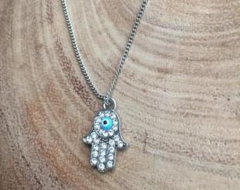 Hamsa hand necklace, evil eye necklace, Protection pendant, Hand of Fatima, Jewish necklace, Bat Mitzvah gift, dainty necklace, rhinestones