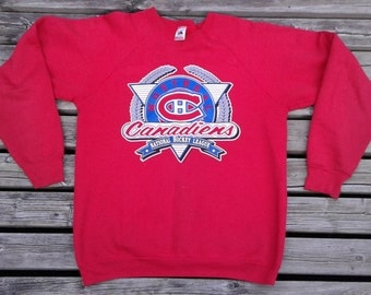 1991 Montreal Canadiens National Hockey League Red Vintage Crew-neck Made in USA by Fruit of the Loom XL