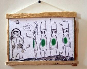 Typographic Prints-Original design print-framed print-hanging print-aliens-astronaut-passport-planets-ironic art