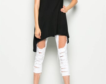Chic Asymetrical High-Low Top - Blk