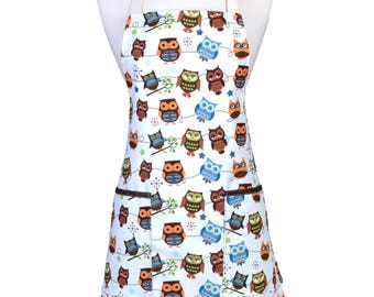 Womens Kitchen Apron Hooty Hoot Whimsical Owls Retro Kitchen Canvas Apron with Two Large Pockets and Adjustable Neck Ties