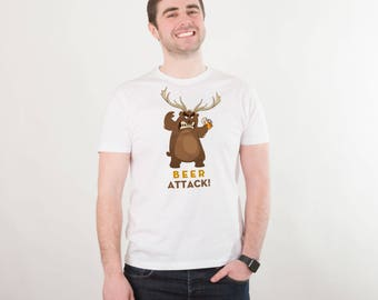 Beer Attack Shirt Funny Shirt Men's Tshirt Beer Shirt Bear Shirt Funny Beer Shirt Beer Lover Gift Beer Tee Beer Gift Graphic Shirt PA1170