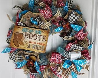 Rustic Wreath,Cowboy Wreath, Western Wreath, Everyday Wreath