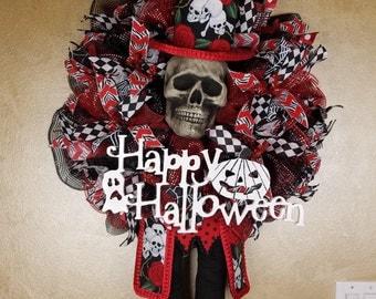 Halloween Skeleton Wreath, Halloween Wreath, Seasonal Decor, Halloween Decor