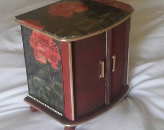 Shabby chic jewellery box musical jewelry box butterflies vintage 1970's upcycled jewelry cabinet.black red roses