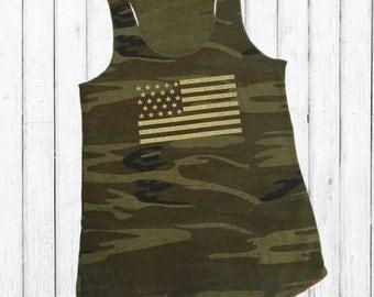 Glitter American Flag, camo tank top