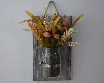 faux flowers-mason jar-decorative wall piece