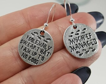 Harry Potter Earrings, Mischief Managed, I Solemnly Swear That I Am Up To No Good, Harry Potter Gift, Mismatched Earrings