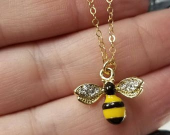 Bee Necklace, Bumble Bee Necklace, Honey Bee Necklace, Bee Jewelry, Sparkly Bee Necklace, Cute Bee Necklace, Gift For Bee Lover
