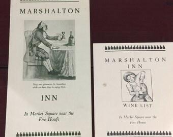 Vintage Menu and Wine list from Marshalton Inn West Chester Pennsylvania