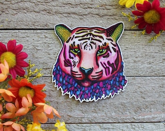 Hand Drawn Psychedelic Tiger Waterproof Sticker
