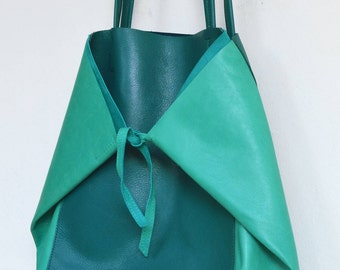 "Large bag tote bag leather green and emerald green ""KEMBOJA"""