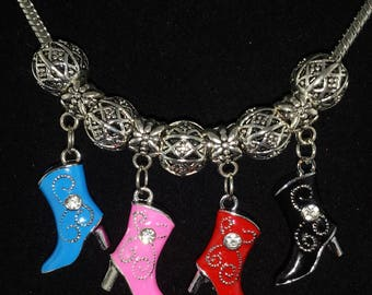 Cowgirl Boot European Style Charm Bracelet - FREE SHIPPING!