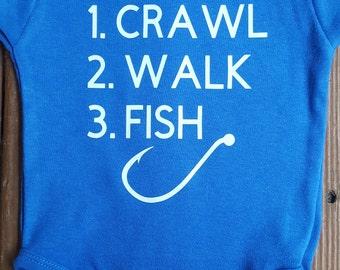 crawl walk fish onesie