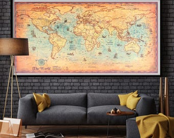 World Map Wall Art, Vintage World Map Poster, Wall World Map Poster, Retro World Map, Wall Home Decor, Old World Map, Old Style World Map