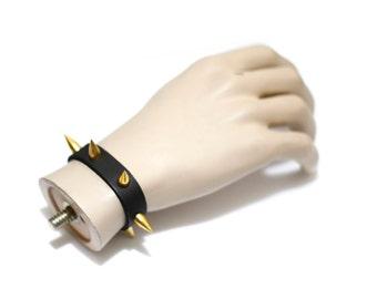 Artisan Handmade Accessory | Black Vegan Friendly Gold Spike Studded Slim Strap Bracelet