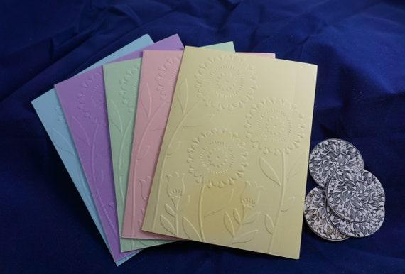CLEARANCE of 5 pastel flower embossed blank card set.