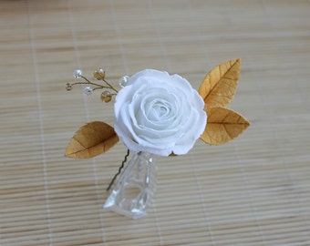 White Rose Gold Leaf Hair Pin Bridal Hair Pin Wedding Gold White Bridal flowers Wedding white rose Flower and Gold Leaves Сrystal hair pin